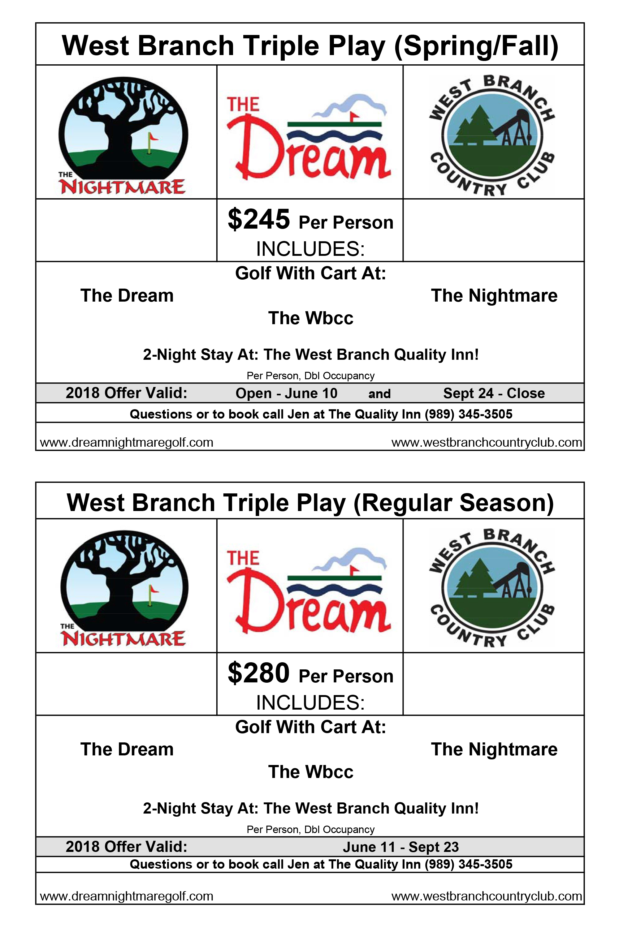 West Branch Country Club Triple Play 2018